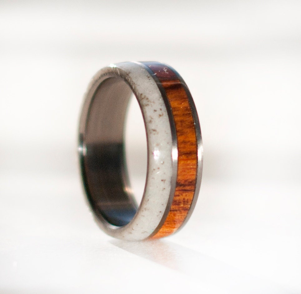 Mens Wedding Band Wood And Antler Wedding Ring Staghead