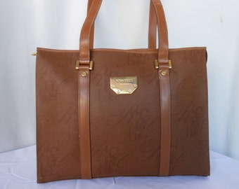Vintage NINA  RICCI Canvas and Leather Shoulder Bag
