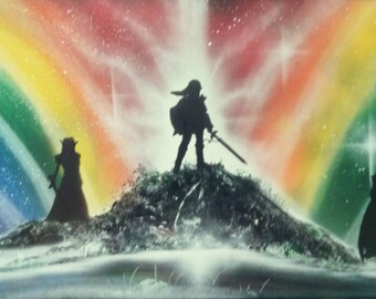 "Legend Of Zelda Spray Paint Art ""The Big Three"""