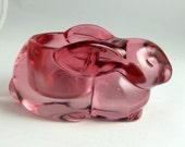 Cranberry Pink Rabbit Votive Holder - Indiana Glass Company