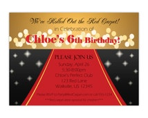 Red Carpet Invitation - Sparkling Gold, Black and Red, Elegant Red Carpet Event Personalized Birthday Party Invite - Digital Printable File