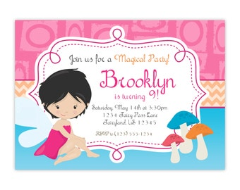 Fairy Invitation - Pink Orange Blue, Cute Magic Little Girl Woodland Fairy Personalized Birthday Party Invite - Digital Printable File