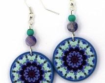 Mint Green Earrings, Sterling Silver Earrings, Gemstone Jewellery, Agate Earrings, Denim Blue Jewelry, Bohemian Earrings, Boho Chic Jewelry