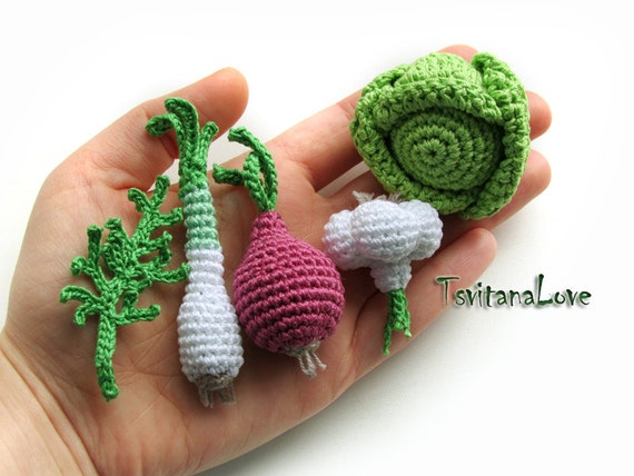 Crocheting Vegetables : Mini crochet vegetables - Set of 5 pieces - Seasons - Eco-friendly ...