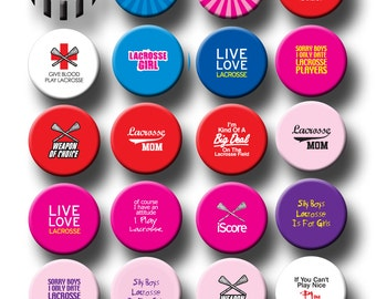 Lacrosse Sports Theme Party Favors 1 inch pinback button or flatback button, pin badge Lacrosse Team Theme Party