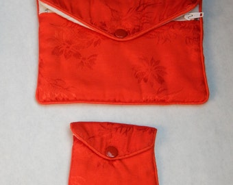 Vintage Red Silk - Jewelry Pouch Set 2 Pc
