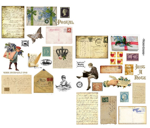 Postal Digital Collage Set