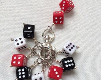 Dice Stitch Markers with Holder