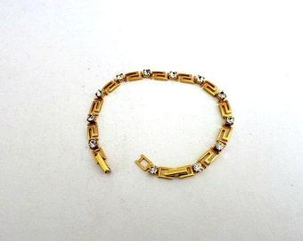 Greek Key Crystal Link Ladies Bracelet Gold Tone Avon
