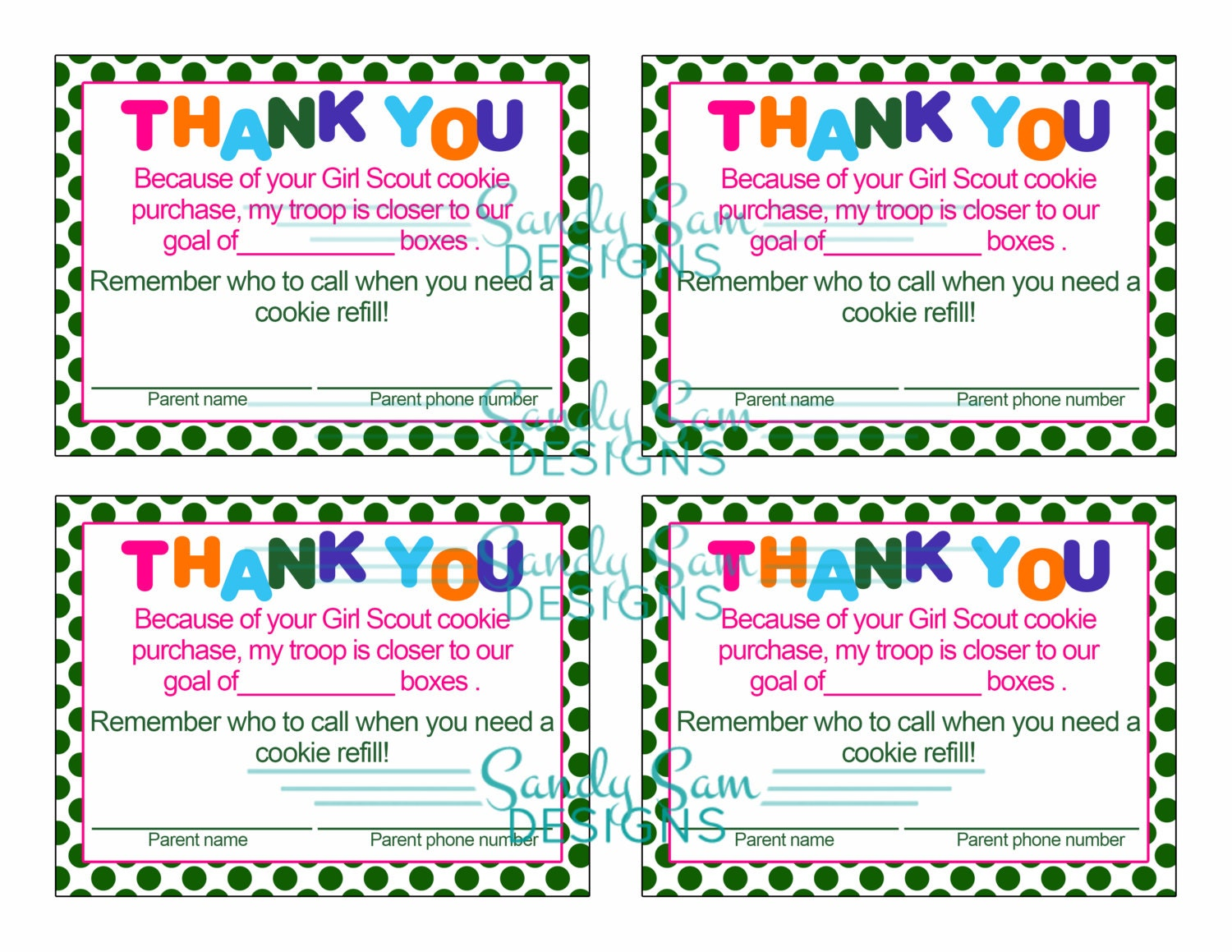 girl scout cookie thank you card by sandysamdesigns on etsy