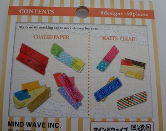 Japan Mind Wave kawaii MASKING TAPE 40pcs stickers