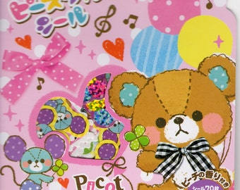 Japan Mind Wave kawaii PICOT TEDDY 71pcs stickers flake