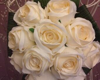 Artificial Silk Creamy White Roses Bridal Bouquet Dracena Leaves