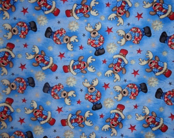 Patriotic/Holiday Moose Cotton Fabric by the Half Yard