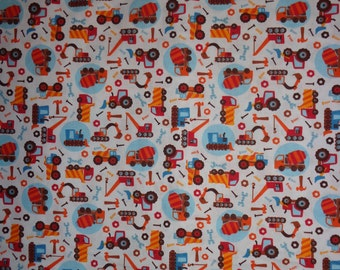 White with Truck/Tractor/Tools/Construction Cotton Fabric by the Yard