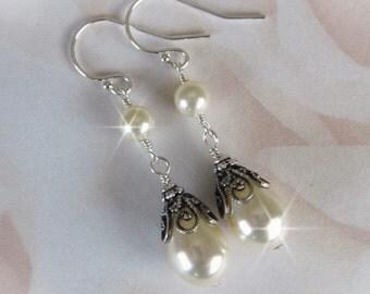 Ivory Pearl Wedding Earrings, Teardrop Pearl Bridal Earrings, Bridesmaids Pearl Earrings, Vintage Style Wedding Jewelry, Wedding Ivory Pearl