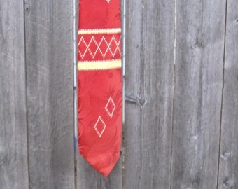 1940s Men's vintage Swing Tie bright red, geometrical shapes