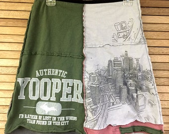 "Woman's upcycled ""Yooper skirt, upcycled tshirt skirt, upcycled clothing, Size Medium, repurposed clothing"