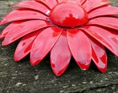 1960's red enameled metal flower pin