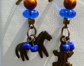 Horse and lizard with vintage blue glass and amber spectra beads earrings