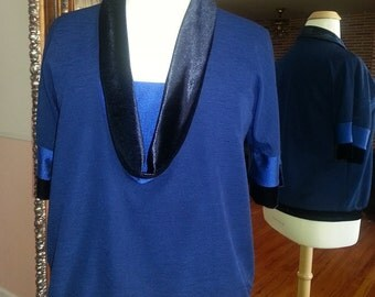 Women's Jersey/Velvet Blue Sweater