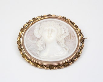 English Victorian 9k Shell Cameo Brooch - Exquisite Carving