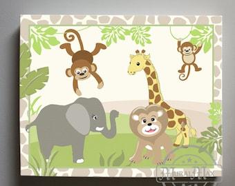 Jungle Play Nursery Art - Elephant Canvas Art , Jungle Nursery Decor  - Boys Room Decor - Canvas Print , Match with Jungle Play Bedding