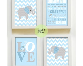 Baby Boy Room Nursery Print, Baby Blue and Gray Elephant Decor, Baby Nursery Decor Playroom Rules Love