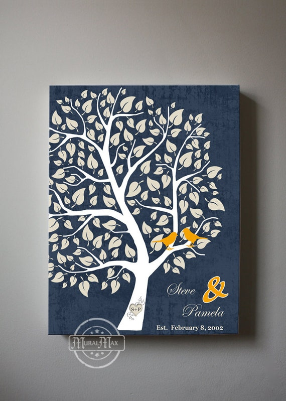 Couples Family Tree With Birds Personalized Canvas Art