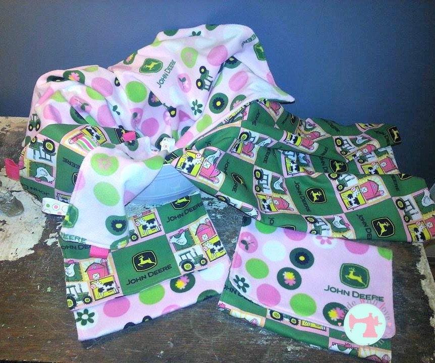 John Deere Baby Gift Set-Baby Girl Gift Set-Blanket Burp