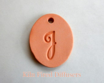 Unglazed Essential Oil Diffuser Terracotta Clay Necklace Letter J Alphabet Pendant, Monogram Aromatherapy Personalized DIY Jewelry