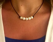 Five 5 Pearl and Leather Necklace