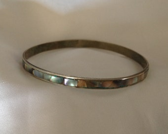 Vintage Abalone/Mother of Pearl Inlaid Bangle Bracelet