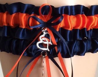 Navy Blue and Orange Wedding Garter Set, Bridal Garter Set, Keepsake Garter, Prom Garter, Wedding Accessories