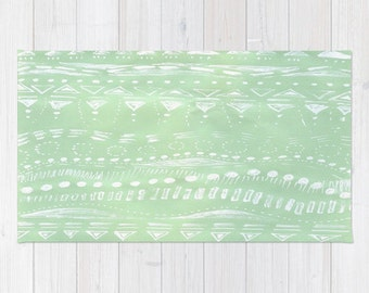 Mint Green Geometric Area Rug, mint green rug, geometric rug, modern rug, green rug, light green rug, pastel rug, pastel green rug