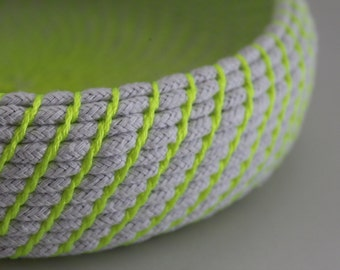 Upcycled Natural & Neon Rope Basket: Yellow / Coiled / Large