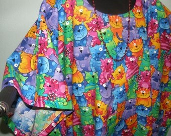 CAT LOVERS TUNIC or Top -- Happy Cats in bright colors - Cotton - Moms, Grandmothers, Teachers, Day Care, Animal Workers, Cat Lover
