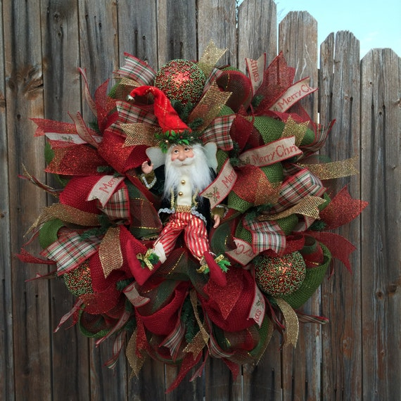 On saledeco mesh christmas fairy wreath red by goblinsandholly for Elegant christmas decorations for sale