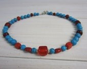Funky Turquoise and Red Glass Beaded Necklace