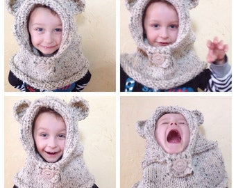 Hand Knit Bear Cowl Hood for Babies, Toddlers & Kids