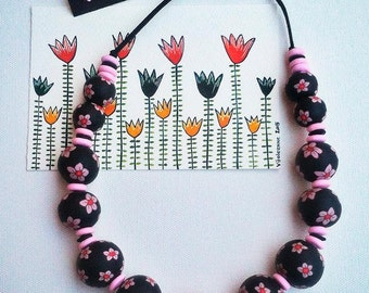 Black & Light pink polymer clay necklace, fimo balls necklace, Millefiori technique.