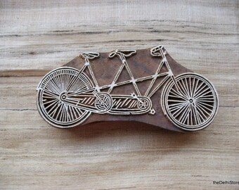 Hand Carved Tandem Bicycle Stamp indian Hand Carved Wooden Stamp