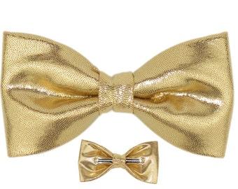 Men / Boys Shiny Gold Clip On Bow Tie