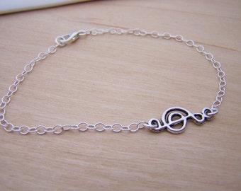 Dainty Sideways Treble Clef Music Sterling Silver Bracelet / Gift for Her