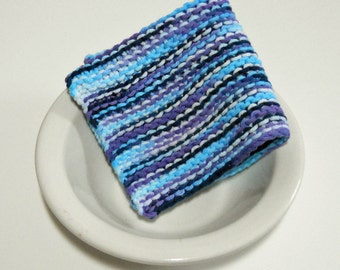 Large Hand Knit Cotton Dishcloth, Washcloth in Blues, Purple and White,  mix and match to make a custom set, Housewarming Gift, Shower Gift