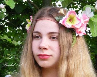Bridal Wreath, Rose Floral Crown, Festival Halo Flower Girl Garland, Pink Flower Garland, Wedding Headband