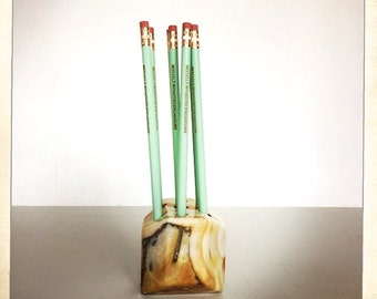 onyx pencil holder polished stone octagonal desk accessory retro vintage