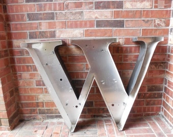 "GIANT Large Reclaimed Metal Capital Sign Letter ""M"",""W"", Wedding, Wall Decor, Industrial Salvage, Home Decor, Office Decor, Industrial Decor"