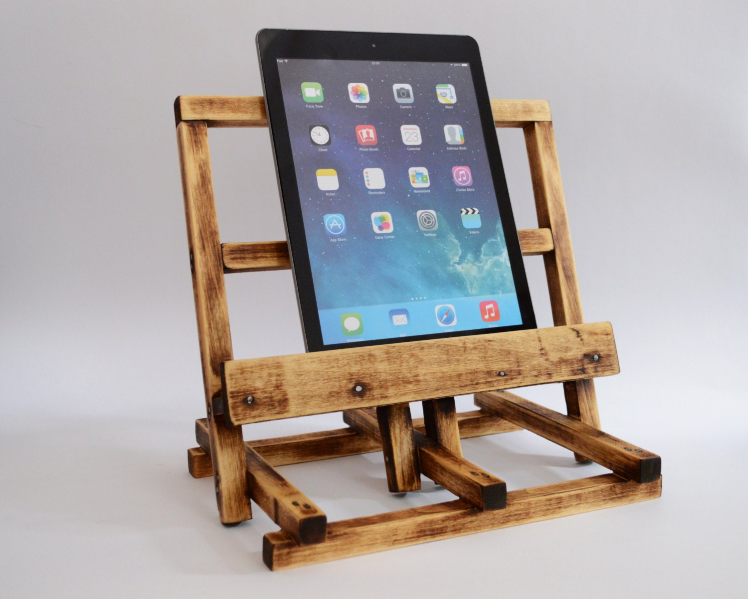 IPad 4 Station Tablet Stand IPad Air Holder Wooden By WoodRestart. Full resolution‎  portrait, nominally Width 1500 Height 1202 pixels, portrait with #2D7A9E.