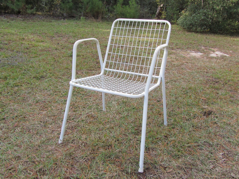 Retro White Patio Chair Mid Century Chair Retro Chair Retro White Metal Ch